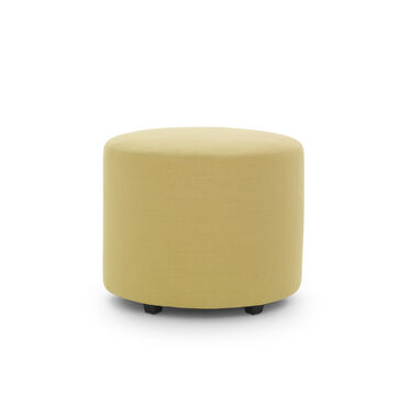 FRANNY ROUND PULL UP OTTOMAN, BELGIAN LINEN - LIMO, hi-res