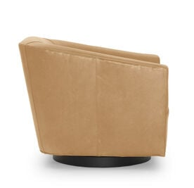 COOPER LEATHER SWIVEL CHAIR, MONT BLANC - FAWN, hi-res