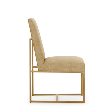 GAGE LOW DINING CHAIR - BRUSHED BRASS, COSTA - CITRON, hi-res