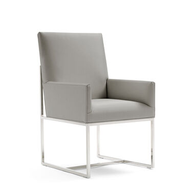 GAGE LOW ARM DINING CHAIR - POLISHED STAINLESS STEEL, KOKO - STEEL, hi-res