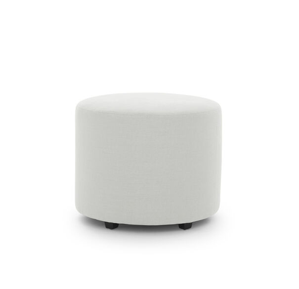 FRANNY ROUND PULL UP OTTOMAN, BELGIAN LINEN - WHIT, hi-res