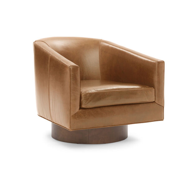 BIANCA FULL SWIVEL LEATHER CHAIR, MONT BLANC - FAWN, hi-res