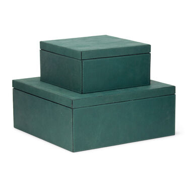 TEAL VINTAGE SUEDE 2 PIECE BOX SET, , hi-res