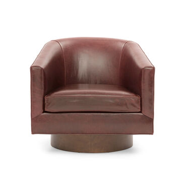 BIANCA RETURN SWIVEL LEATHER CHAIR, MONT BLANC - CHIANTI, hi-res