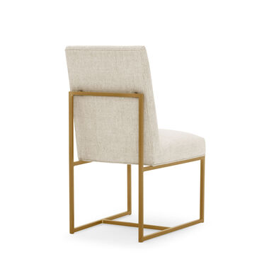 GAGE LOW DINING CHAIR - BRUSHED BRASS, COSTA - CREAM, hi-res
