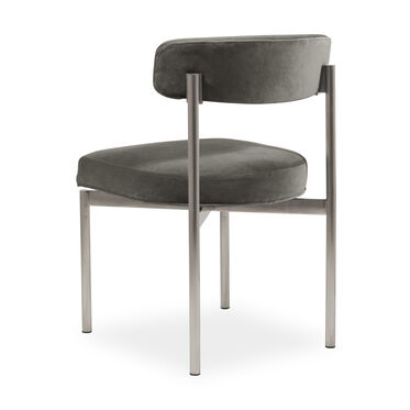 REMY DINING CHAIR - BRUSHED STAINLESS STEEL, BOULEVARD - GRAPHITE, hi-res