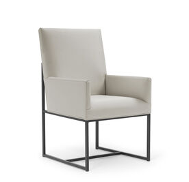 GAGE LOW ARM DINING CHAIR - PEWTER, Vinyl - STONE, hi-res