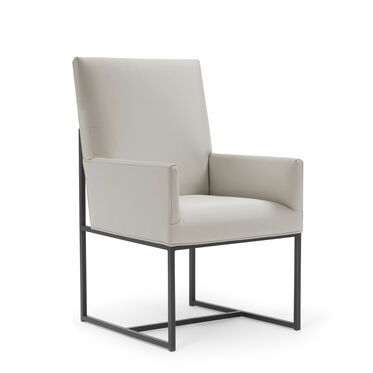 GAGE LOW ARM DINING CHAIR - PEWTER, KOKO - STONE, hi-res