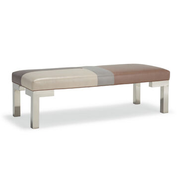 WINSTON LEATHER BENCH MOSAIC OTTOMAN, , hi-res