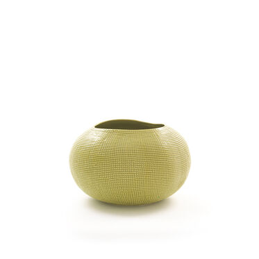 TEXTURED LIME VASE  - WIDE, , hi-res