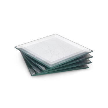 BEVELED SILVER LEAF COASTERS, , hi-res