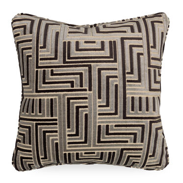 "CHENILLE 21"" X 21"" WELT ACCENT PILLOW, CRETE - MIDNIGHT, hi-res"