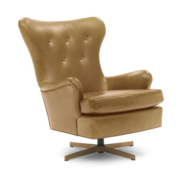 ORSON LEATHER SWIVEL CHAIR, MONT BLANC - FAWN, hi-res