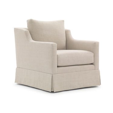 GIGI SKIRTED FULL SWIVEL CHAIR, BELGIAN LINEN - OATMEAL, hi-res