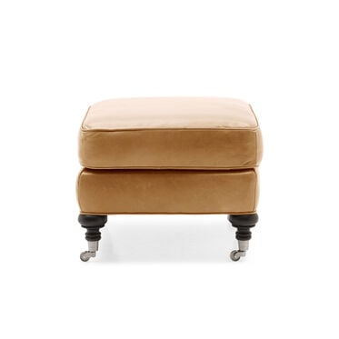 LONDON LEATHER OTTOMAN, MONT BLANC - FAWN, hi-res