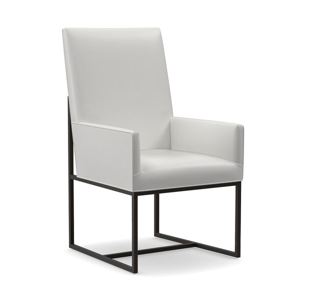 GAGE TALL ARM LEATHER DINING CHAIR, TAHOE - WHITE, hi-res