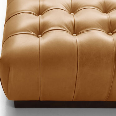 MILLER SQUARE LEATHER OTTOMAN, MONT BLANC - FAWN, hi-res