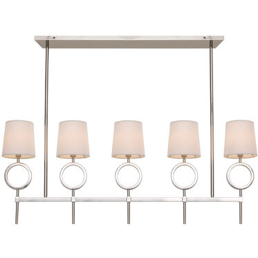 MARCO CHANDELIER - POLISHED NICKEL WHITE SHADE, , hi-res