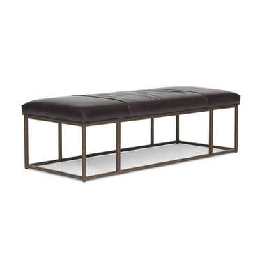 CARMEN LEATHER SMALL COCKTAIL OTTOMAN, CASPIAN - ANTHRACITE, hi-res