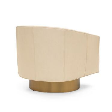 BIANCA RETURN SWIVEL LEATHER CHAIR, MONT BLANC - IVORY, hi-res