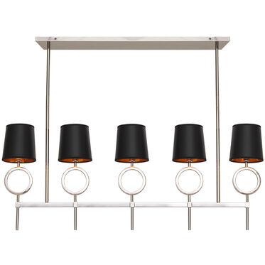 MARCO CHANDELIER - POLISHED NICKEL BLACK SHADE, , hi-res
