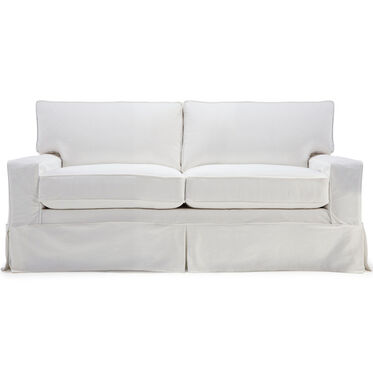 ALEX II SOFA SLIPCOVER- LOOSE SKIRT, BULL DENIM - WHITE, hi-res