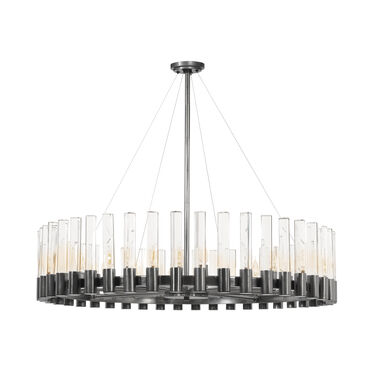 PERLA ROUND CHANDELIER - VINTAGE NICKEL AND CLEAR CRYSTAL, , hi-res