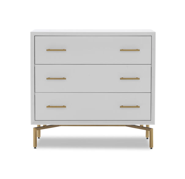 MING 3 DRAWER CHEST - WHITE / BRASS, , hi-res