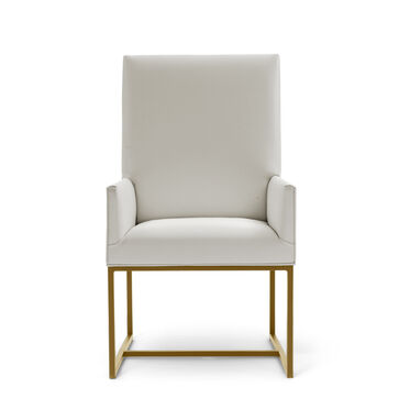 GAGE LOW ARM DINING CHAIR - BRUSHED BRASS, KOKO - STONE, hi-res