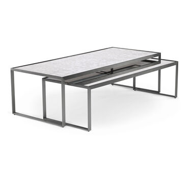 white glass furniture living room astor nesting cocktail table pewter hires coffee and cocktail tables