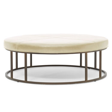 CARMEN LEATHER ROUND OTTOMAN, MONT BLANC - IVORY, hi-res