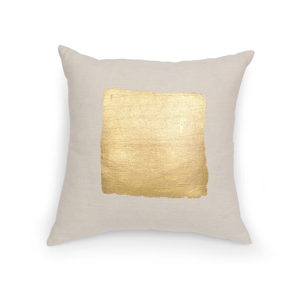 GOLD HAND SCREEN PRINTED THROW PILLOW, , hi-res