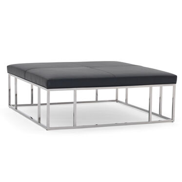 CARMEN LEATHER SQUARE OTTOMAN, TRIBECA - BLACK, hi-res