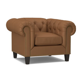 ADDISON LEATHER CHAIR WITH NAILHEAD, , hi-res