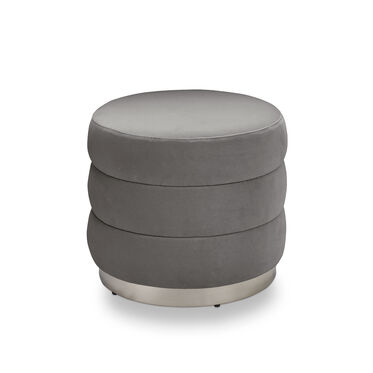 GEMMA OTTOMAN - POLISHED STAINLESS STEEL, BOULEVARD - LIGHT GREY, hi-res