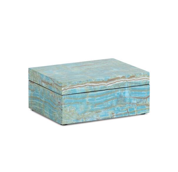 TURQUOISE FAUX ONYX LACQUER BOX, , hi-res