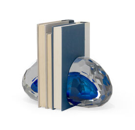 CLEAR CRYSTAL FACET WITH BLUE GLASS BOOKENDS, , hi-res