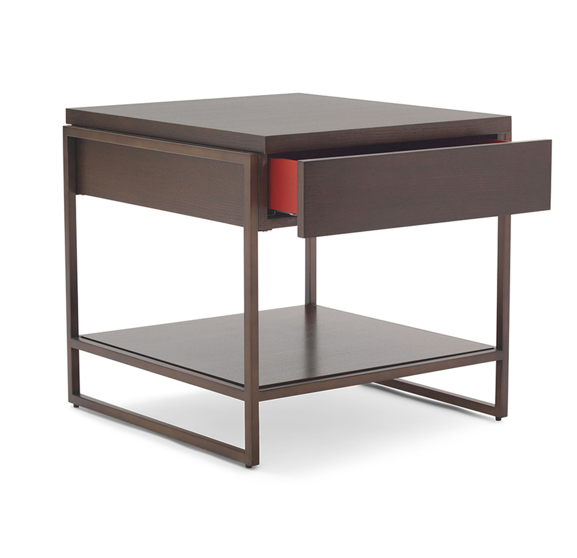 BASSEY DRAWER SIDE TABLE - Metal table with shelves