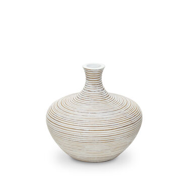 GROOVED WIDE WHITE VASE, , hi-res