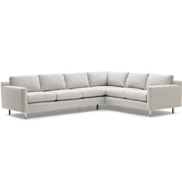 HUNTER STUDIO LEFT NO WELT SECTIONAL SOFA, PIPPIN - SILVER, hi-res