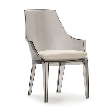 CLAIR SMOKE DINING CHAIR W/ CUSHION, SOFT SUEDE - STONE, hi-res
