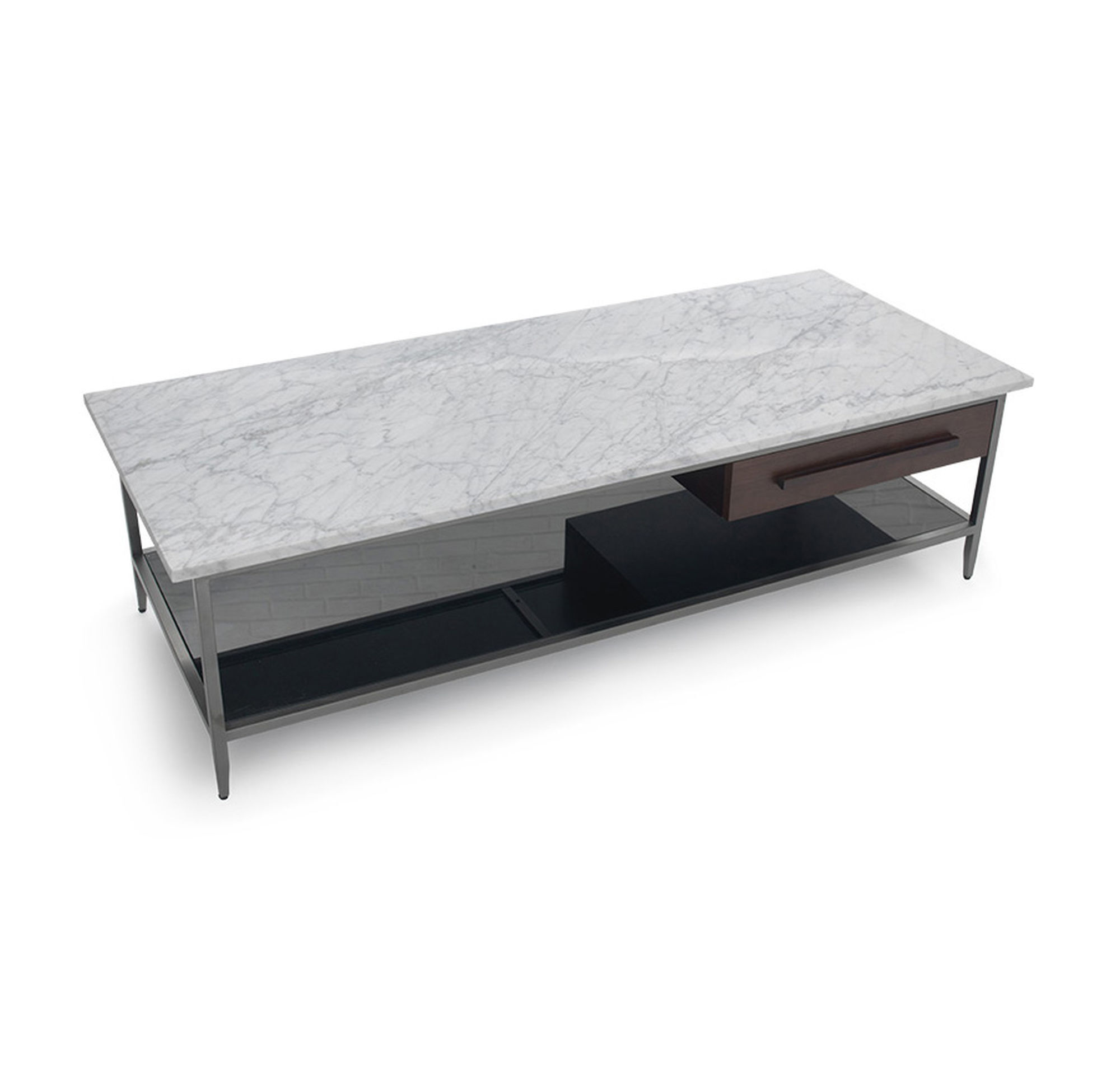 Buy White Marble And Black Metal Coffee Table From Fusion: TRIBECA RECTANGLE COCKTAIL TABLE