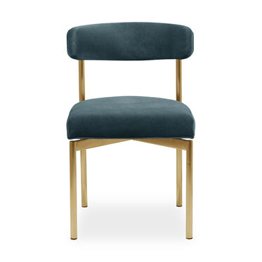 REMY DINING CHAIR - BRUSHED BRASS, BOULEVARD - AGEAN, hi-res