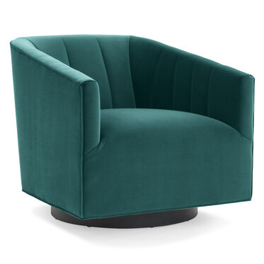 COOPER CHANNEL TUFTED SWIVEL CHAIR, VIVID - PEACOCK, hi-res