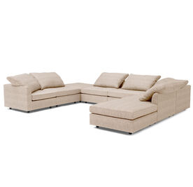BIG EASY 8-PC SECTIONAL, Sunbrella Performance Textured Two-Tone Linen - BLUSH                             , hi-res