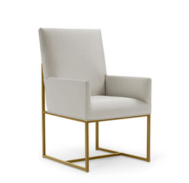 GAGE LOW ARM DINING CHAIR - BRUSHED BRASS, Vinyl - STONE, hi-res