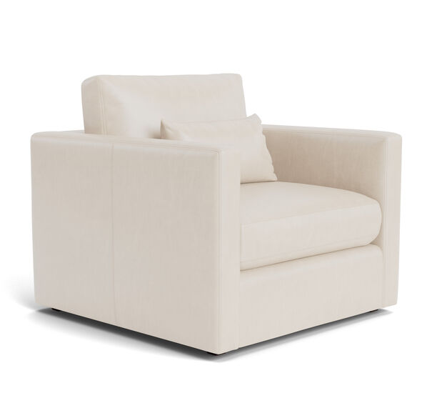 HAYWOOD LEATHER CHAIR, Mont Blanc - Italian Leather - Ivory, hi-res