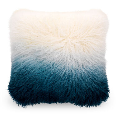 OMBRE IVORY AND BLUE TIBETAN WOOL PILLOW - 20X20, , hi-res