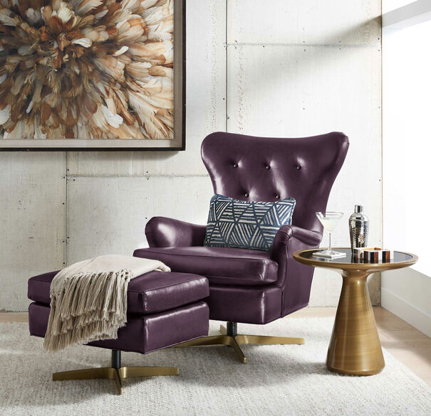 ORSON LEATHER SWIVEL CHAIR, , hi-res