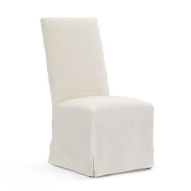 JULIA TALL SIDE DINING CHAIR - SLIPCOVER, BELGIAN LINEN - WHITE, hi-res